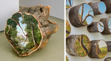 Landscapes Painted On Fallen Tree Logs By Alison Moritsugu