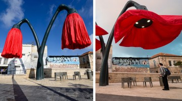 These Giant Flower Lamps In Jerusalem Bloom When People Stand Under Them