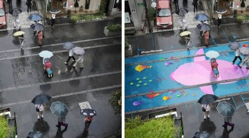 These Colorful Paintings Show Up On The Street When It's Raining