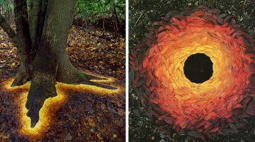 Man Arranges Leaves, Sticks, And Stones To Create Magical Land Artworks