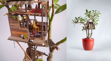 Artist Builds Miniature Tree Houses Around Houseplants And The Results Are Incredible