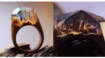 Wooden Rings Hide Miniature Fantasy Worlds Inside Them