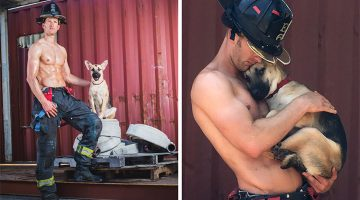Firefighter Poses With Rescue Dog For Calendar, Then He Does Something That Would Change Their Lives